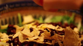 tortilla chips on mexican salad