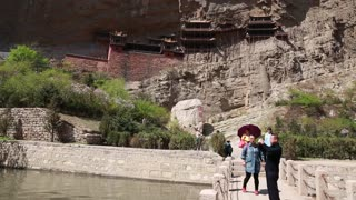 tourists at hanging temple monastery in datong china