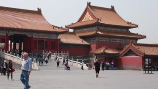 tourists in beijing at the forbidden city