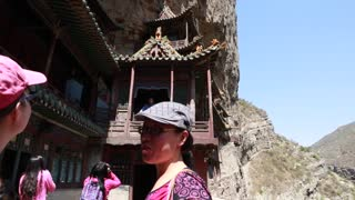 Tourists in Hanging temple monastery at Datong China 2