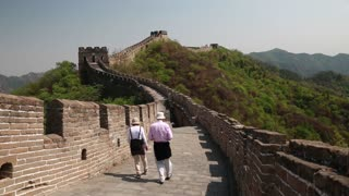 tourists on a beautiful section of great wall of china beijing mutianyu