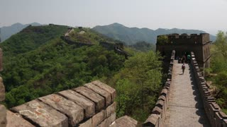 tourists on incredible section of great wall of china beijing mutianyu