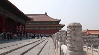 tourists viewing amazing forbidden city courtyard beijing china