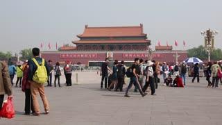 tourists walking at tiananmen square beijing china