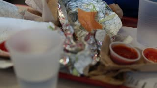 trash at a fast food restaurant on table