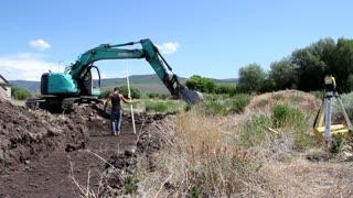 Two excavators digging