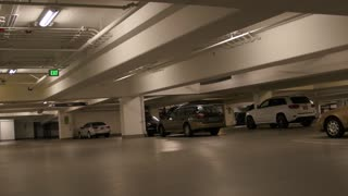 Underground parking garage panning shot