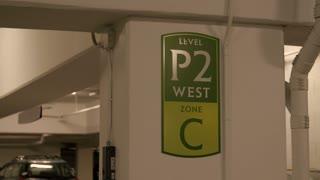 Underground parking garage sign