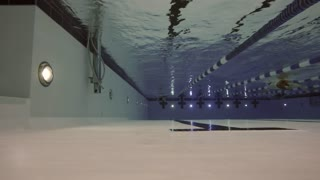 Underwater low shot of people swimming in clean swimming pool