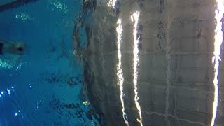 Underwater shot of man swimming backstroke at pool