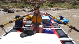 A Family Floating Down The San Juan River In Beautiful Southern Utah
