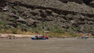 A Family Floats Down The San Juan River In Beautiful Southern Utah