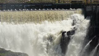 A Large Hydro Electric Dam At Grand Falls In Newfoundland Canada