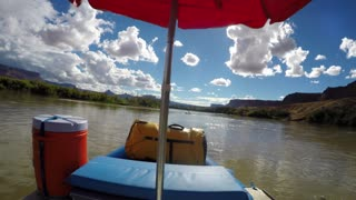 A Pov Shot Of Man Rafting On The Colorado River Near Moab Utah