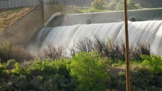 A Waterfall And Dam To Divert Water In The Hot Desert