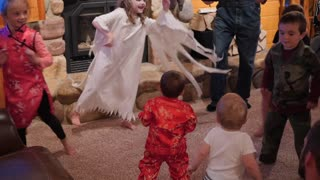 Adorable Children Dance At Fun Halloween Party And Games