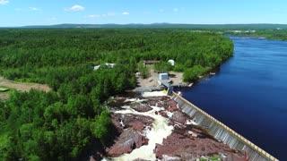 Aerial Dolly Large Hydroelectric Dam At Grand Falls Newfoundland Canada