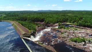Aerial Dolly Large Hydroelectric Dam In Grand Falls Newfoundland Canada