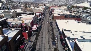 Aerial Dolly Shot Of Roads In A Winter Mountain Resort Town In Utah