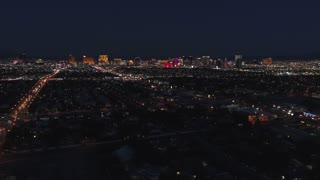 Aerial Establishing Shot Las Vegas City Bright Lights At Night