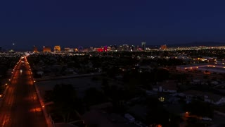 Aerial Establishing Shot Of Las Vegas Nevada Lights At Night