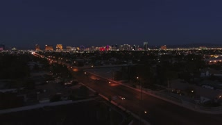 Aerial Establishing Shot Of The Bright Las Vegas Nevada Lights At Night