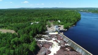 Aerial Large Grand Falls Hyrdo Electric Dam By Newfoundland Canada