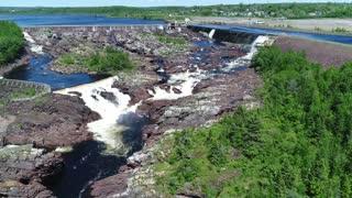 Aerial Large Grand Falls Hyrdo Electric Dam Near Newfoundland Canada