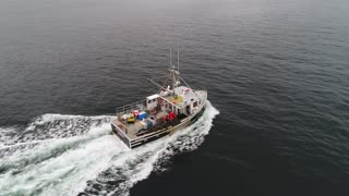 Aerial Of A Big Commercial Fishing Boat Checking Lobster Traps In Ocean