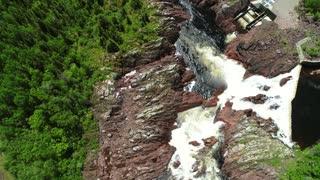 Aerial Of A Hydroelectric Dam In Grand Falls Windsor Newfoundland Canada