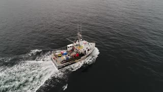 Aerial Of Big Commercial Fishing Boat Checking Lobster Traps In Ocean