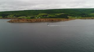 Aerial Of Big Commercial Ocean Boats Checking Their Lobster Traps