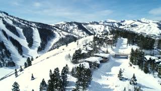 Aerial Rotating Shot Of People Skiing At Deer Valley