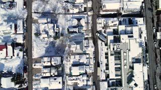 Aerial Rotating Shot Of Suburbs In A Winter Mountain Resort Town In Utah