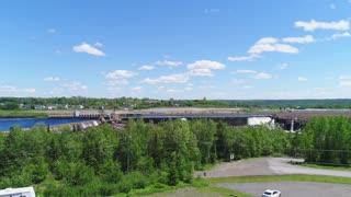 Aerial Shot Hydroelectric Dam At Grand Falls Windsor Newfoundland