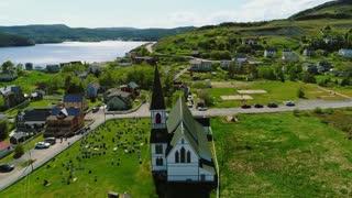 Aerial Shot Of A Church In Trinity Newfoundland Canada