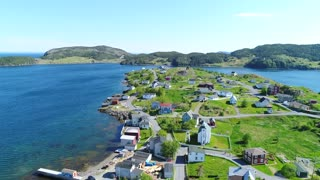 Aerial Shot Of Beautiful Historic Trinity And The Ocean Coast In Newfoundland