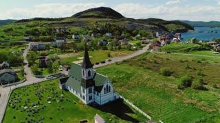 Aerial Shot Of Church In Historic Trinity Newfoundland Canada