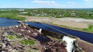 Aerial Shot Of Hydroelectric Dam In Grand Falls Windsor Newfoundland