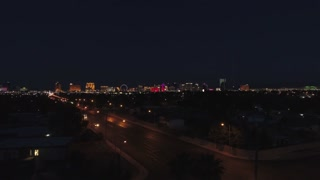 Aerial Timelapse Of Las Vegas At Night With Bright Lights Ascending