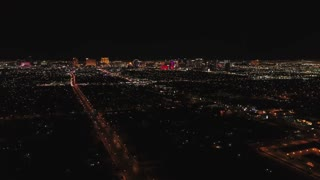 Aerial Timelapse Of Las Vegas At Night With Bright Lights Dolly