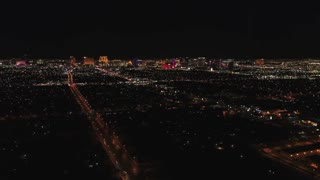 Aerial Timelapse Of Las Vegas At Night With Bright Lights Static