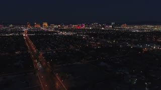 Aerial Timelapse Of Las Vegas At Night With Bright Lights