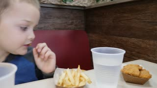 Boy Eating His Unhealthy French Fries In Fast Food Restaurant