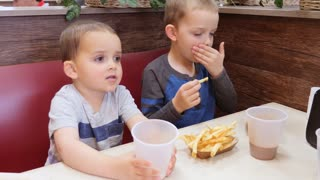 Brothers Eating Unhealthy French Fries In Fast Food Restaurant