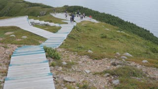 Editorial Of Families Hiking On Boardwalks At Skyline Trail In Cape Breton