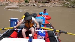 Families Rafting Down The San Juan River In Southern Utah