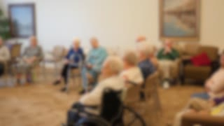 Old Folks Listening To A Recital In Retirement Home