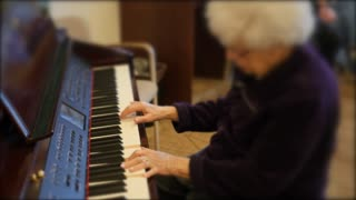 Old People Listen To Piano Playing In Retirement Home
