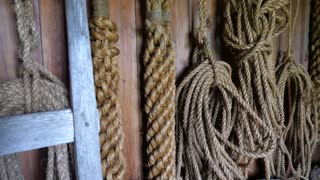 Ropes And Equipment Inside An Old Cowboy Barn